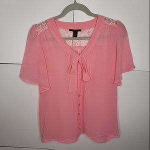 Forever 21 Sheer Pink Blouse with Lace Small